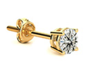 Diamond Stud Earring: Single 2/3ct Classic Quality Diamond Stud Earring in 14k Yellow Gold