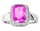 Pink Topaz Jewelry: 1 3/4ct Cushion Cut Pink Topaz and 1/5ct Diamond Ring in 14k White Gold