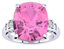 Pink Topaz Jewelry: 14k White Gold Cushion Cut 4ct Pink Topaz and Diamond Ring