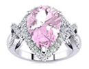 Pink Topaz Jewelry: 3ct Pear Shape Pink Topaz and Diamond Ring With X Shank Accents in 14k White Gold