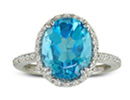 Blue Topaz Jewelry: Stylish 4ct Blue Topaz and Diamond Ring in 14K White Gold