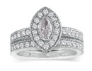 Diamond Bridal Sets: 1ct Marquise Diamond Bridal Set in 14k White Gold