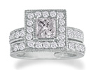 Diamond Bridal Sets: 2ct Princess Diamond Bridal Set in 14k White Gold