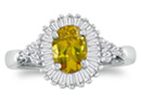 Citrine Jewelry: 1 1/3ct Oval Citrine and Diamond Ring in 14k White Gold