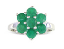 Add a splash of color to your hand with this adorable emerald flower ring in sterling silver.  Total gem weight is 1 3/4 carats. This is a unique 7 stone flower design.  It�s the perfect May birthstone ring.