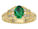 Emerald Jewelry: Beautiful 1 1/2ct Emerald and Diamond Ring in 10k Yellow Gold