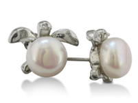Turtle Shaped Freshwater Pearl Earrings