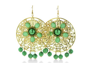 HUGE Circular Gold Tone Green Beaded Floral 3 Inch Dangle Drop Earrings