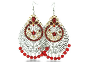 Indian Inspired Two Tone Red Beaded Double Tier Dangle Earrings, 3 Inches