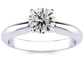 1ct Diamond Solitaire Engagement Ring Crafted In Solid White Gold.