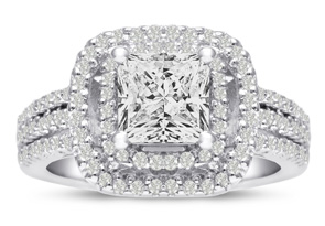 1 2/3ct Princess Cut Double Halo Diamond Engagement Ring Crafted in 14 Karat White Gold