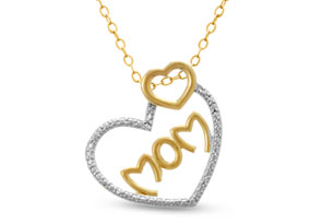 Two Tone Diamond I Love You Mom Necklace, 18 Inches