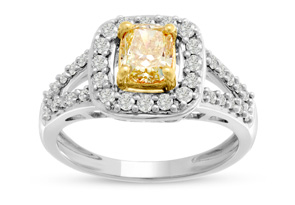 1ct Cushion Cut Canary Yellow Diamond Halo Split Shank Engagement Ring Crafted In Solid 14 Karat White Gold