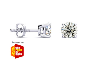 Featured on the Price is Right 1ct Diamond Stud Earrings Set in 14K White Gold