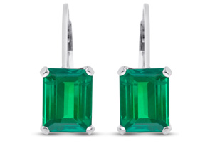 4 1/2 Carat Emerald Cut Created Emerald Drop Earrings