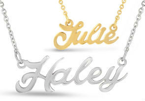 Nameplate Necklace In Silver and Gold