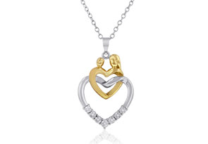 Mother and Child Two-Tone Diamond Accent Heart Pendant Necklace In Sterling Silver, 18""