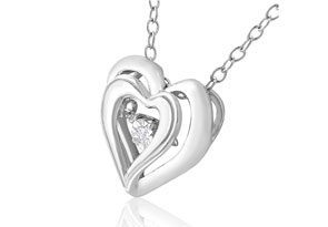 Shimmering Stars Diamond Double Heart Necklace