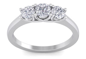 1ct Three Diamond Ring in 14k White Gold. Our Most Popular.