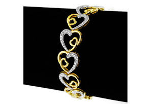 Two-Tone Diamond Heart Bracelet