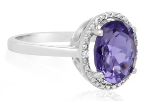 3ct Oval Created Tanzanite and Diamond Halo Ring