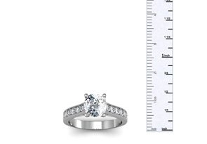 1.50 Carat Solitaire Engagement Ring With 1 Carat Cushion Cut Center Diamond In 14K White Gold