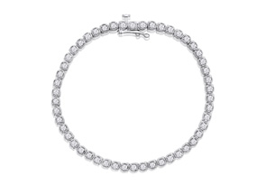 2 Carat Halo Diamond Tennis Bracelet In White Gold, 7 Inches