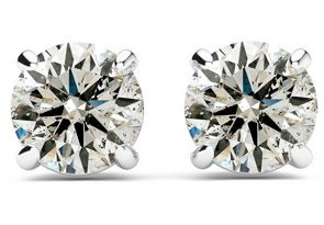 1/2ct Diamond Stud Earrings in 14k White Gold - FREE Matching Diamond Pendant Appraised at $800!