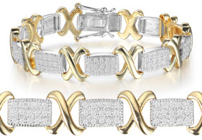 Two-Tone 1 Carat Diamond X Tennis Bracelet In Yellow Gold Overlay
