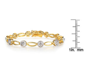 Two-Tone 1/5 Carat Diamond Tennis Bracelet In Yellow Gold Overlay
