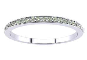 1/10ct Micro Pave Womens Wedding Diamond Band in 10k White Gold