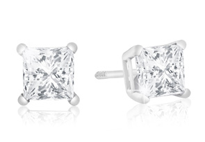 1ct Princess Cut Diamond Stud Earrings in 14k White Gold. Amazing Clearance Price!