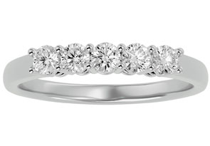 1/2ct Five Diamond Prong Set Band in 10k White Gold.  Closeout!