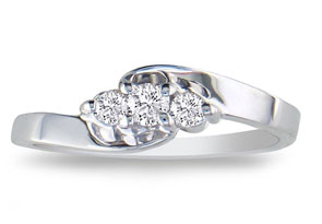 1/10ct Three Diamond Promise Ring in Sterling Silver