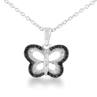 Set someone's heart a flutter with this adorable sterling silver black diamond butterfly Necklace. Diamond content is .02 carats in black color and I3 clarity. The chain is 18 inches long.