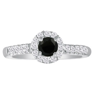 This gorgeous Hansa black diamond engagement ring should be yours! This ring boasts a 0.5 carat center stone. This ring is set in 18 karat white gold, total carat weight 0.89, I-J color and SI2-I1 clarity. It is available in ring sizes 4-9.5.