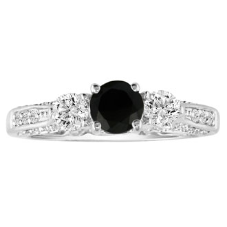 This gorgeous Hansa black diamond engagement ring should be yours! This ring boasts a 0.5 carat center stone. This ring is set in 14 karat white gold, total carat weight 1, I-J color and SI2-I1 clarity. It is available in ring sizes 4-9.5.