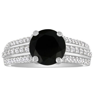 This gorgeous Hansa black diamond engagement ring should be yours! This ring boasts a 1.5 carat center stone. This ring is set in 14 karat white gold, total carat weight 1.89, I-J color and SI2-I1 clarity. It is available in ring sizes 4-9.5.