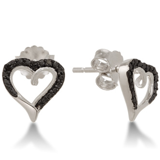 These delicate and dainty black and white diamond heart stud earrings in sterling silver are perfect for everyday wear. Diamond content is .03 carat, I3 clarity, and J-K color.