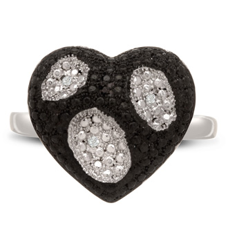 Great ring for all the black and white diamond lovers out there! The black and white heart design is incredibly unique and fun. This ring contains 3 white diamonds and 3 black diamonds in a micro-pave setting, .03 carats. Color is J-K, clarity is I1 clarity. This ring is set in solid platinum-plated brass and available in ring sizes 5-8.