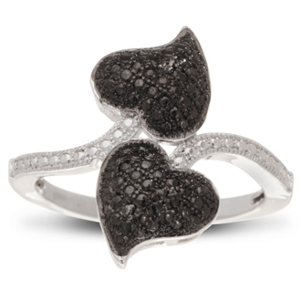 Great ring for all the black and white diamond lovers out there! The black and white heart design is incredibly unique and fun. The double heart design is cute and sassy. This ring contains 2 black diamonds in a micro-pave setting, .01 carats. Color is J-K, clarity is I3. This ring is set in solid platinum-plated brass and available in ring sizes 5-8.