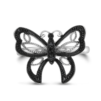 Butterfly jewelry is always in! Be sure to get this trendy black diamond butterfly ring. Diamond content is .02 carats in black color and I3 clarity. This ring is crafted in solid sterling silver and is available in ring sizes 5-8.