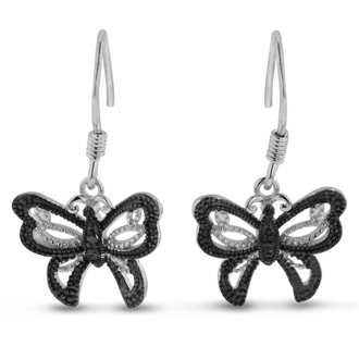 Butterfly jewelry is always in! Be sure to get these trendy black diamond butterfly earrings. Diamond content is .02 carats in black color and I3 clarity. These earrings are crafted in solid sterling silver and have fish hook backs. They dangle down about a 1/2 inch.