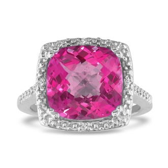Pink Topaz Diamond Ring