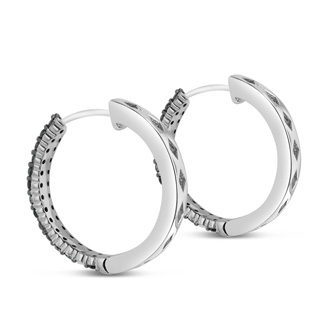 1ct Black Diamond Pave Hoop Earrings Crafted In Solid Sterling Silver