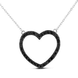 Gorgeous black diamond heart necklace perfect for any special occasion. This necklace contains 34 shimmering black diamonds in I3 clarity. The necklace is 1ct total weight and the heart measures approximately 1 inch. This necklace is crafted in solid sterling silver and is 18 inches long.