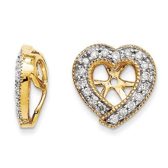 14k Yellow Gold Diamond Heart Earring Jackets Fits 1 4 1