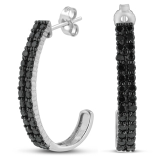 1ct Black Diamond Double Row Hoop Earrings Crafted In Solid Sterling Silver