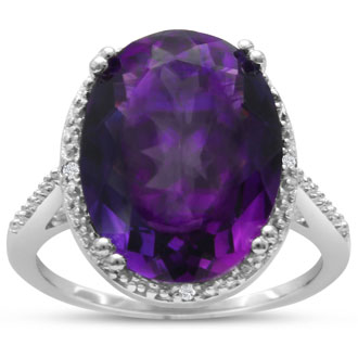 8ct Oval Amethyst & Diamond Ring