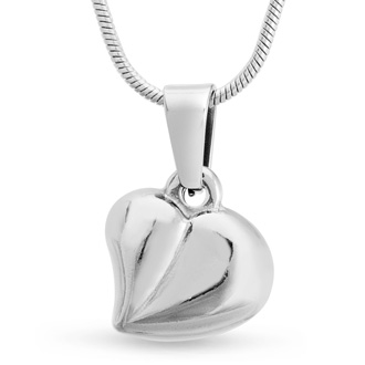 Dainty Puffed Heart Necklace, 18 Inches